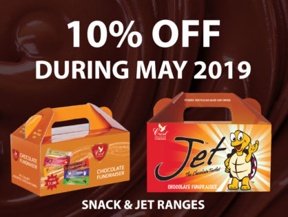10% discount off Jet and Snack range fundraising chocolates during May 2019